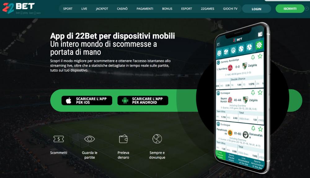 22bet app per scommettere online